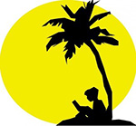 Silhouette of boy sitting under a palm tree with the sun behind